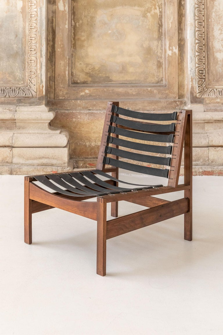 Pair of Wood Armchairs, Black Stripes and Écru Cushions For Sale 10