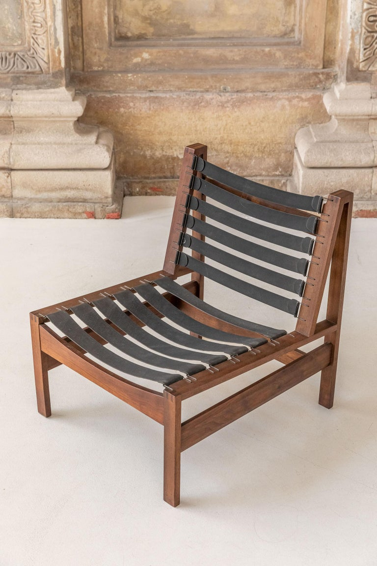 Pair of Wood Armchairs, Black Stripes and Écru Cushions For Sale 11
