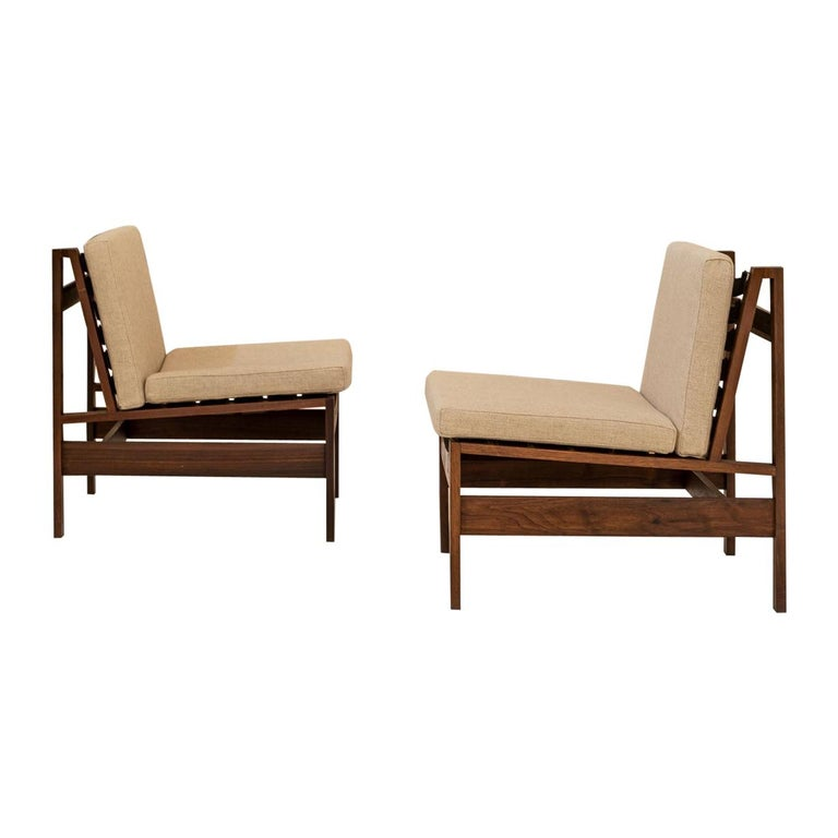 Pair of Wood Armchairs, Black Stripes and Écru Cushions For Sale