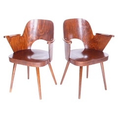 Pair of Wood Armchairs Designed by Oswald Haerdtl