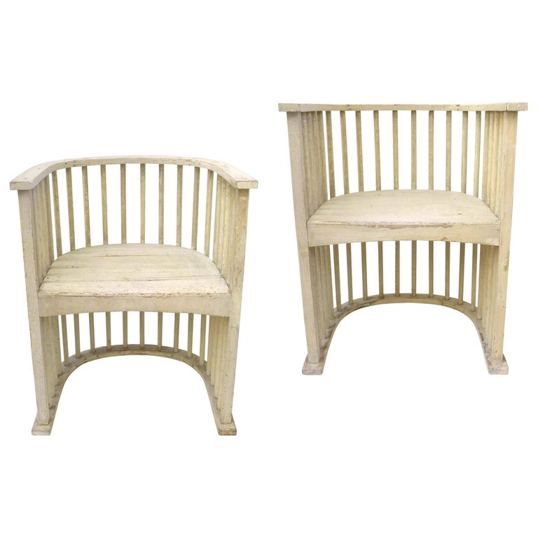 Pair of Wood Armchairs in the Manner of the Barrel Chair by Josef Hoffmann For Sale