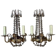 Pair of Wood Beaded and Iron Sconces, circa 1940s
