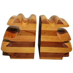 Pair of Wood Bookends in the manner of Don Shoemaker