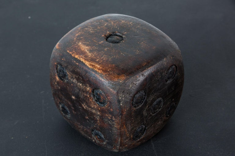 20th Century Pair of Wood Carved American Folk Art Dice For Sale