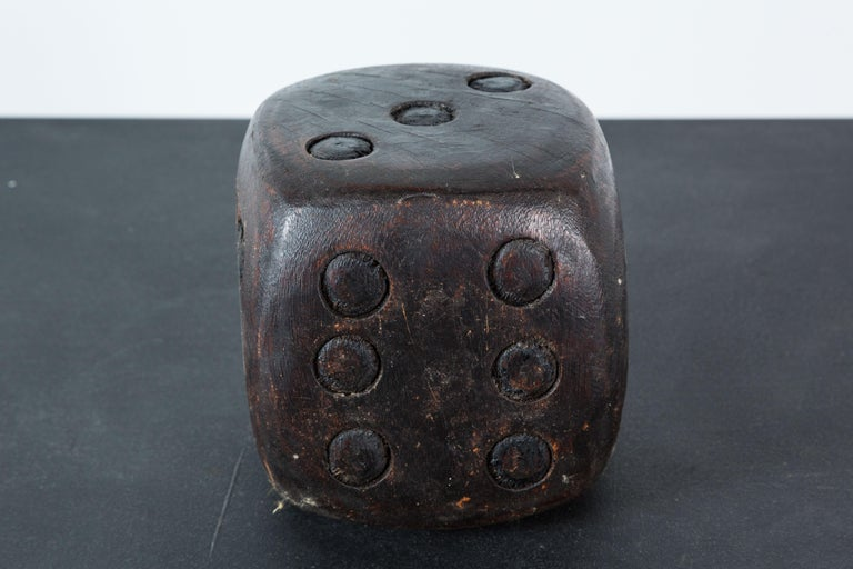 Pair of Wood Carved American Folk Art Dice For Sale 1