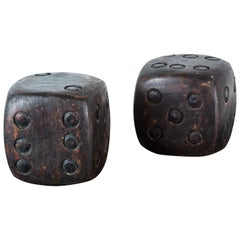 Pair of Wood Carved American Folk Art Dice