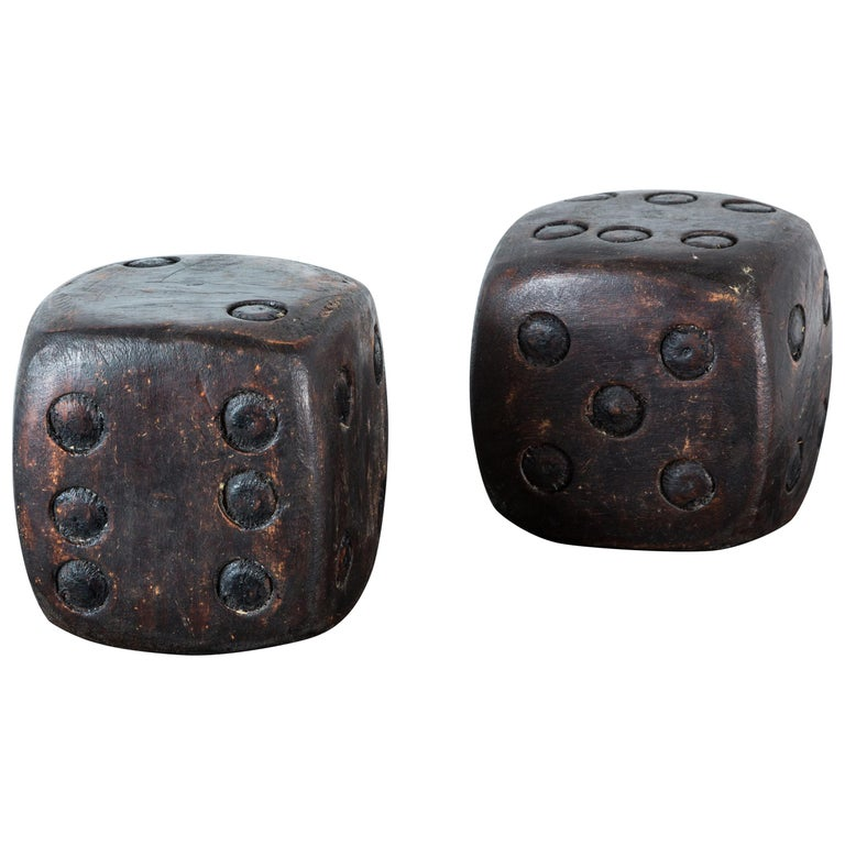 Pair of Wood Carved American Folk Art Dice For Sale