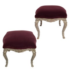 Pair of Wood Carved Silver Gilt Painted Stools with Mohair Velvet Upholstery