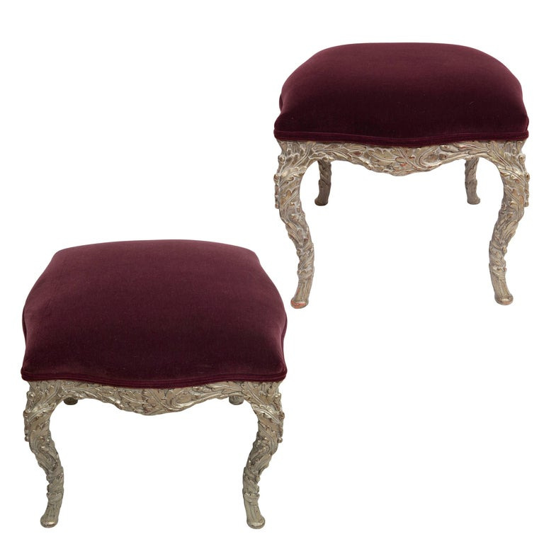 Pair of Wood Carved Silver Gilt Painted Stools