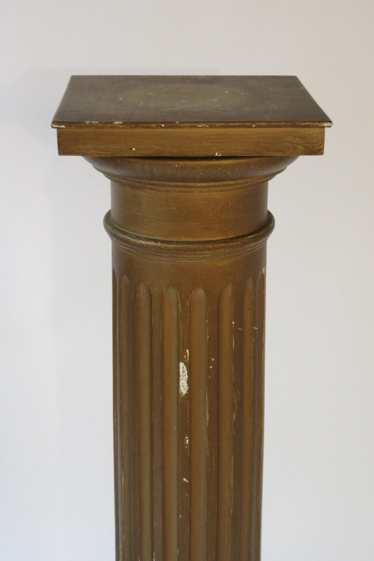 Pair of wood column pedestals. Pedestals need repainting.
