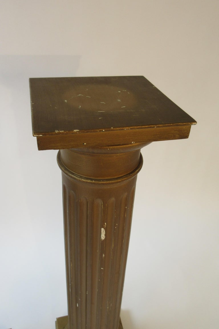 Pair of Wood Column Pedestals In Fair Condition For Sale In Tarrytown, NY