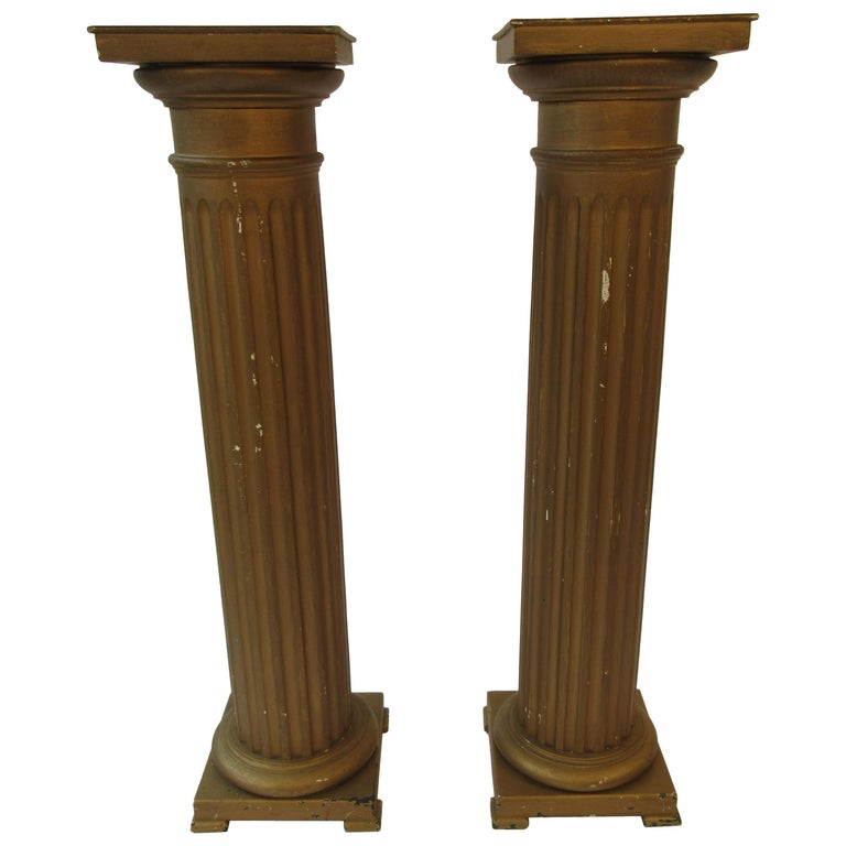 Pair of Wood Column Pedestals For Sale