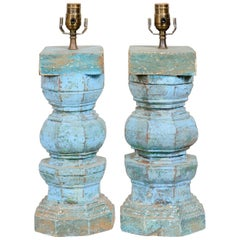 Pair of Wood Column Table Lamps in Blue and Turquoise Hues