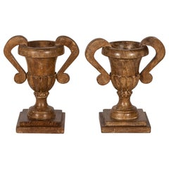Pair of Wood Double Handle Urns on Plinths