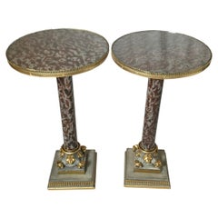 Pair of Wood Faux Marble Painted Round Side Tables