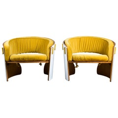 Pair of Wood, Formica and Velvet Armchairs, Designed by Ricardo Blanco, 1969