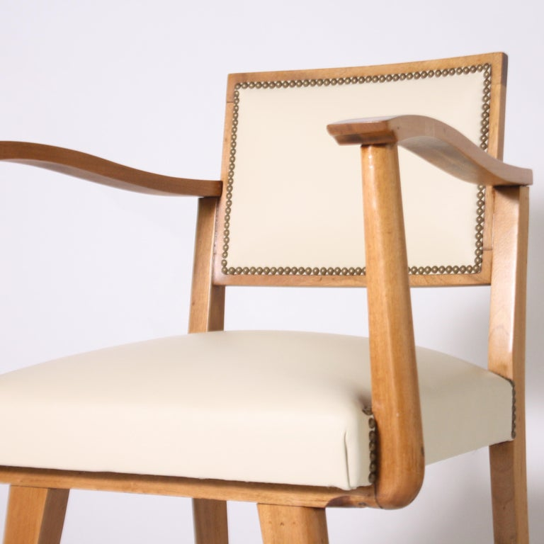 French Pair of Wood Frame Armchairs with Leather, circa 1960 For Sale