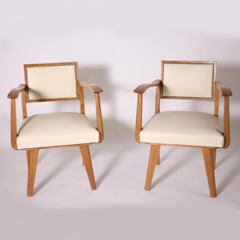 Pair of Wood Frame Armchairs with Leather, circa 1960 In Good Condition For Sale In Dallas, TX