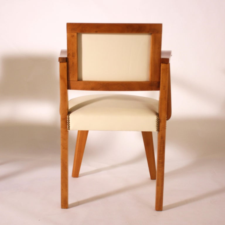 Pair of Wood Frame Armchairs with Leather, circa 1960 For Sale 1