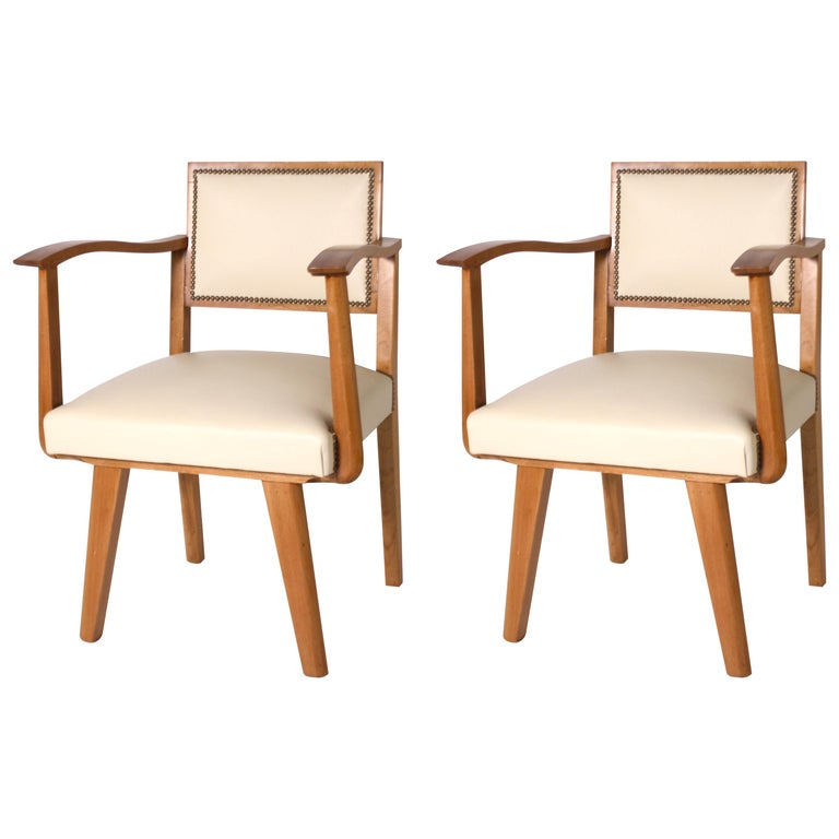 Pair of Wood Frame Armchairs with Leather, circa 1960 For Sale