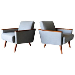 Pair of Mid-Century Modern Wood Framed Lounge Chairs, circa 1960