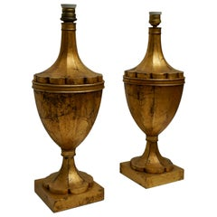 Pair of Wood Gilt Table Lamps, Mid-20th Century