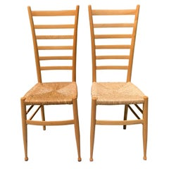 Pair of Wood Italian Ladder Back Chairs Attributed to Gio Ponti