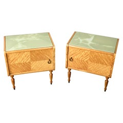 Pair of Wood Lacquered Side Table Nightstands Vittorio Dassi style, 1950s, Italy