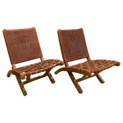Pair of Wood and Leather Folding Side Chairs from Peru, circa 1970s