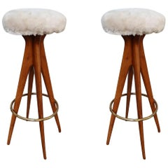 Pair of Wood Legs, Brass and Beige Leather Midcentury Stools, Italy, 1950