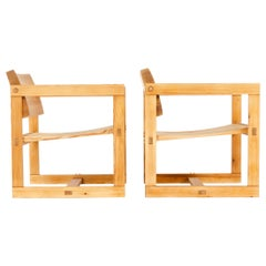 Pair of Wood Lounge Chairs by Edvin Helseth for Trybo