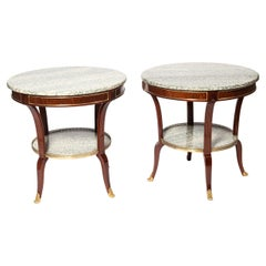 Pair of Wood, Marble and Bronze Side Tables, France, Late 19th Century