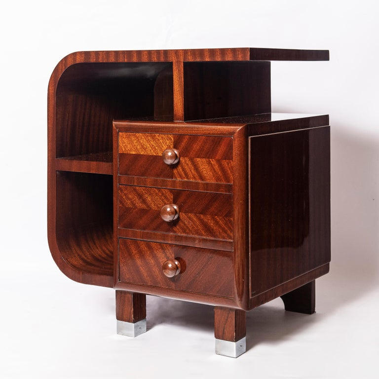 Pair of wood nightstands. Art Deco Period, France, circa 1940.
