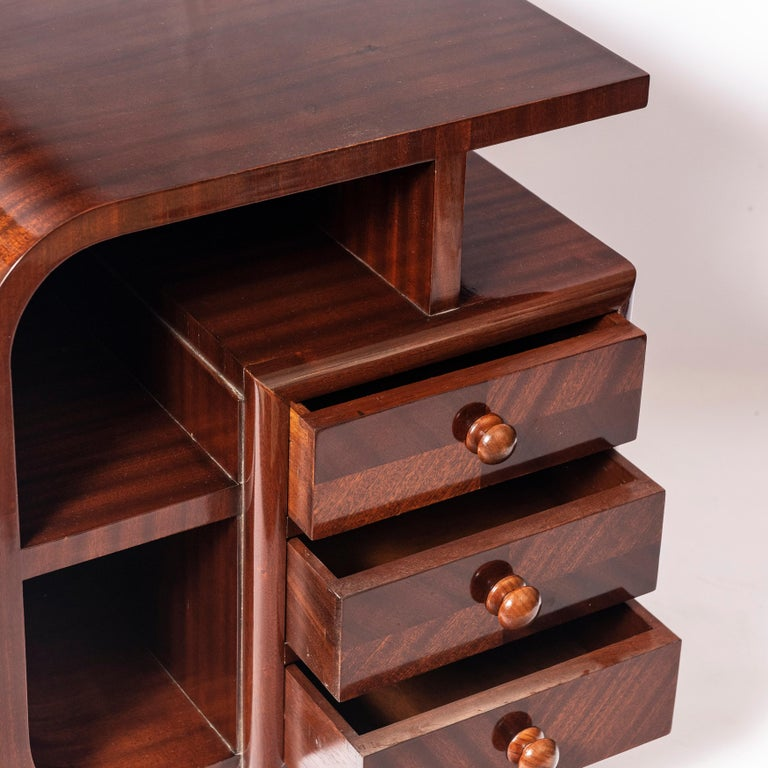 French Pair of Wood Nightstands, Art Deco Period, France, circa 1940 For Sale