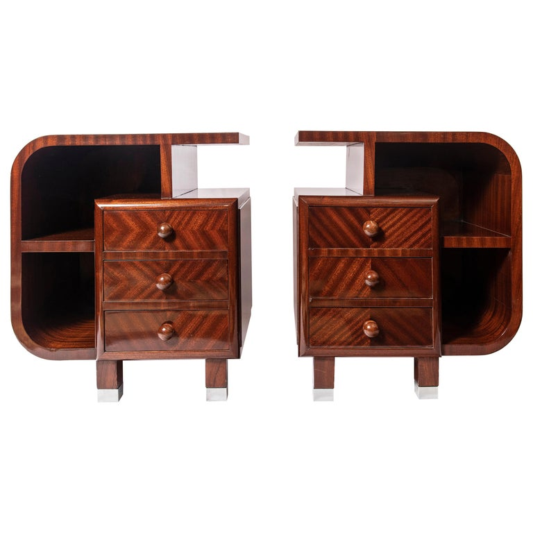 Pair of Wood Nightstands, Art Deco Period, France, circa 1940 For Sale