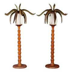 Pair of Wood Palm Floor Lamp