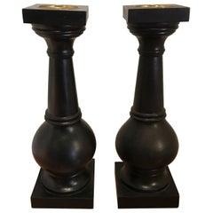 Pair of Wood Pillar Candlesticks