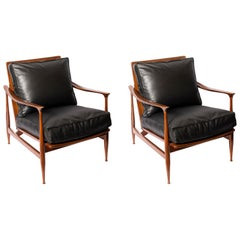 Pair of Wood, Rattan and Leather Scandinavian Armchairs, circa 1960