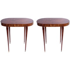 Pair of Wood Side Tables, Art Deco Style, France, circa 1930