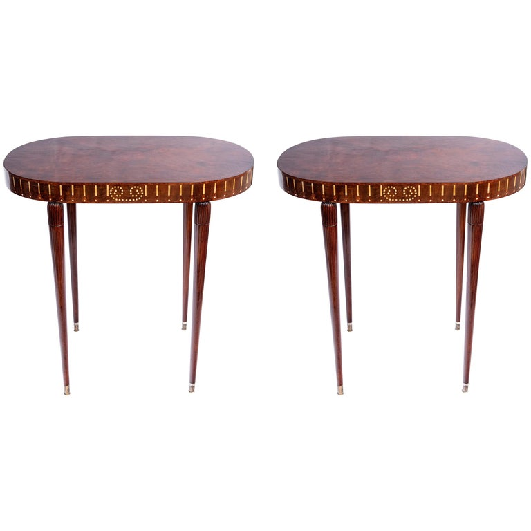 Pair of Wood Side Tables, Art Deco Style, France, circa 1930 For Sale