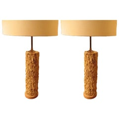Pair Of Wood Specimen Lamps