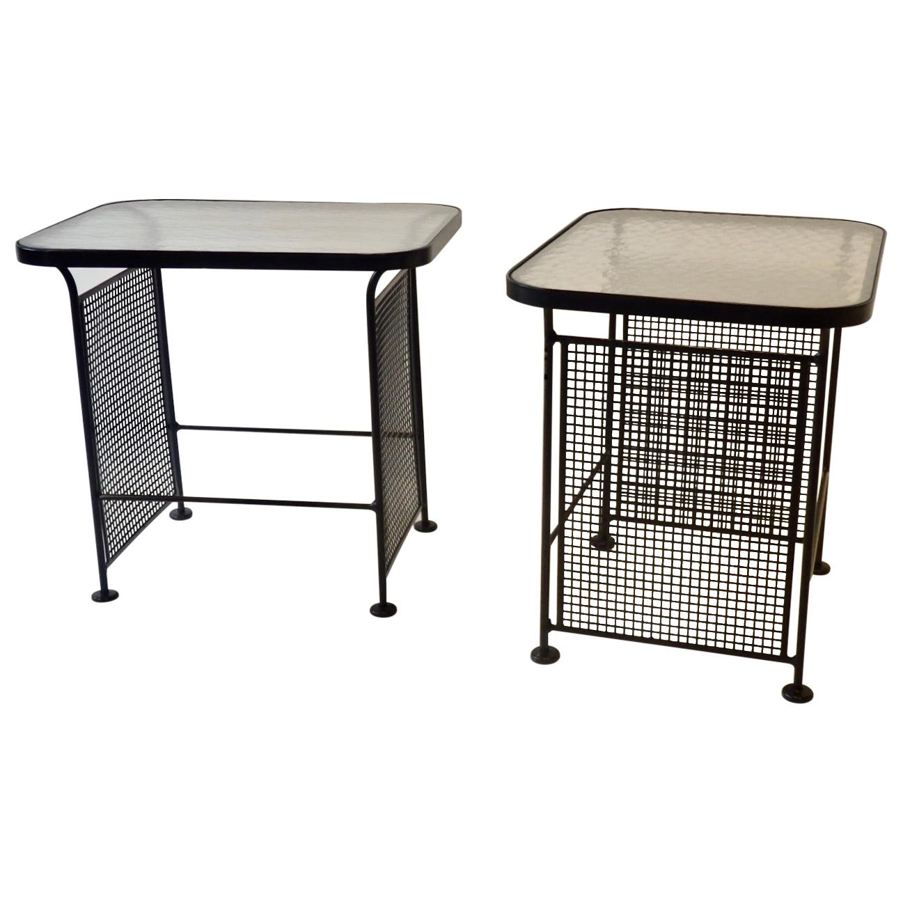 Pair of Woodard Glass Top Wrought Iron Side Tables