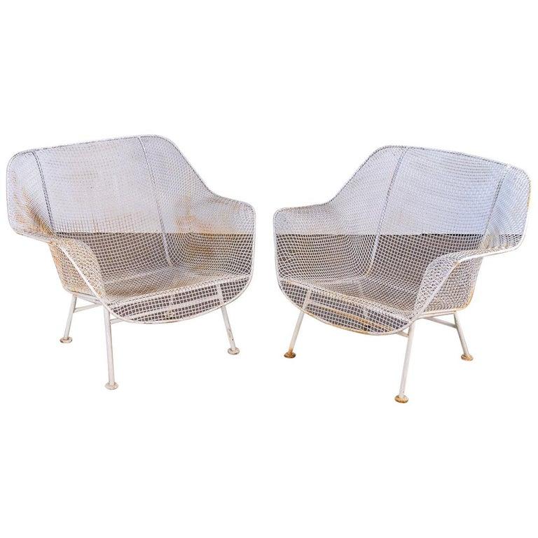 Pair of Woodard Sculptura Garden Lounge Chairs For Sale