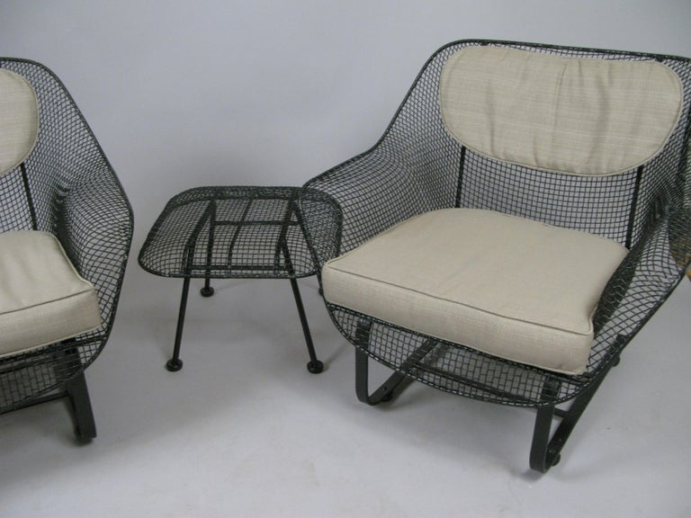 Pair of Woodard Sculptura Lounge Chairs and Ottoman In Good Condition For Sale In Hudson, NY