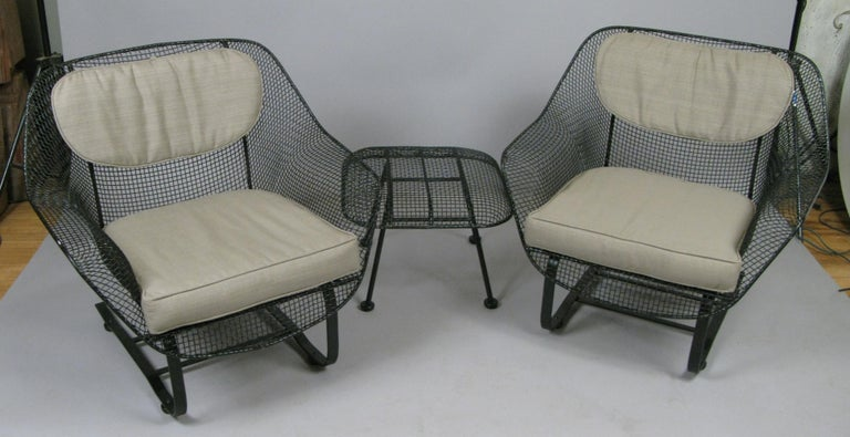 Mid-20th Century Pair of Woodard Sculptura Lounge Chairs and Ottoman For Sale