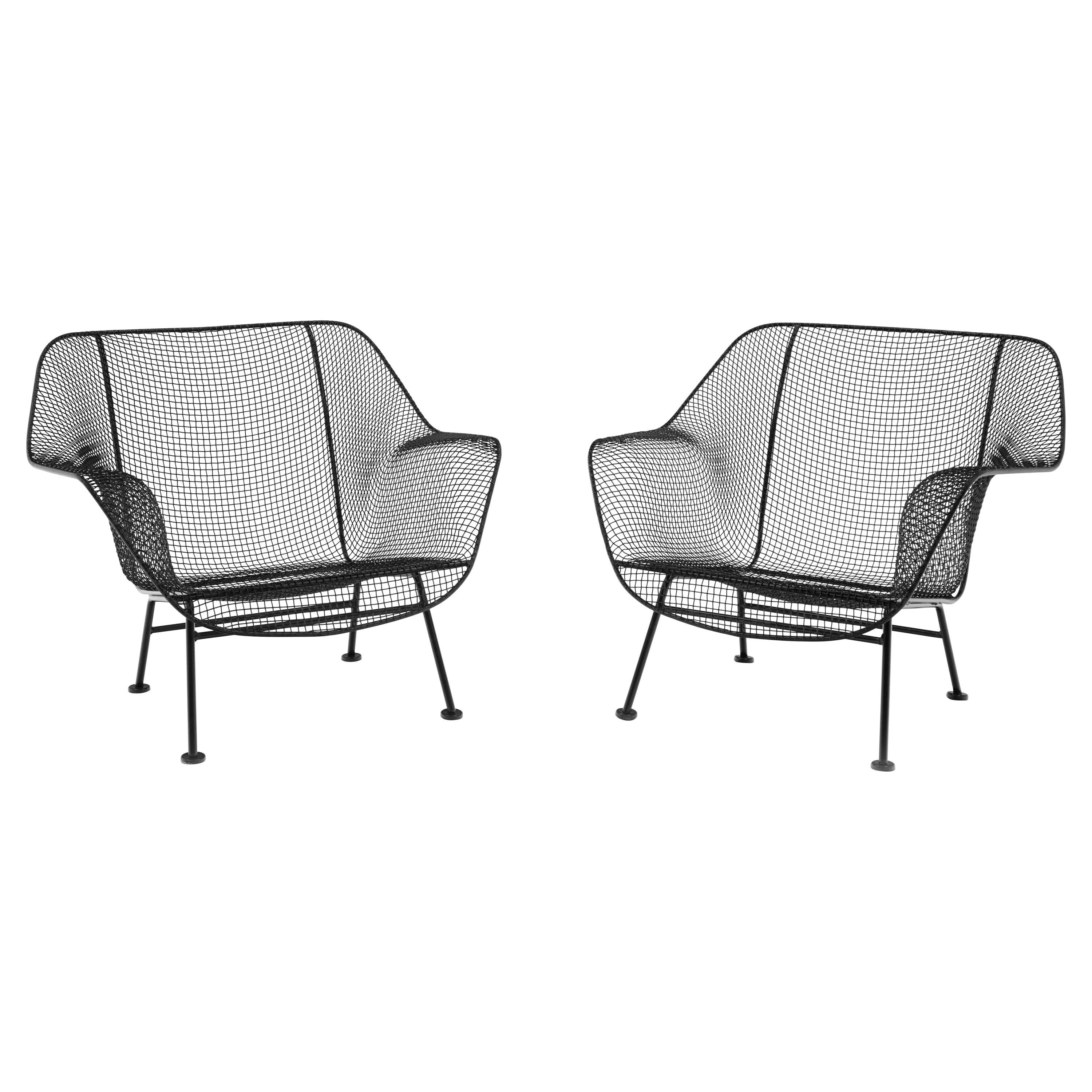 Pair of Woodard Sculptura Patio Chairs, Wrought iron and Metal Mesh, Restored