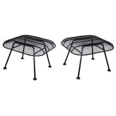Pair of Woodard Wrought Iron with Steel Mesh Ottomans