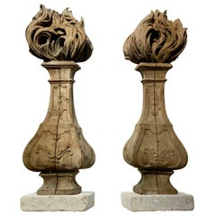 Pair of Woodcarving Torchieres from France