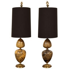 Pair of Wooden and Brass Lamps, 2000s