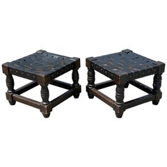 Pair of Wooden and Woven Black Leather Straps Stools